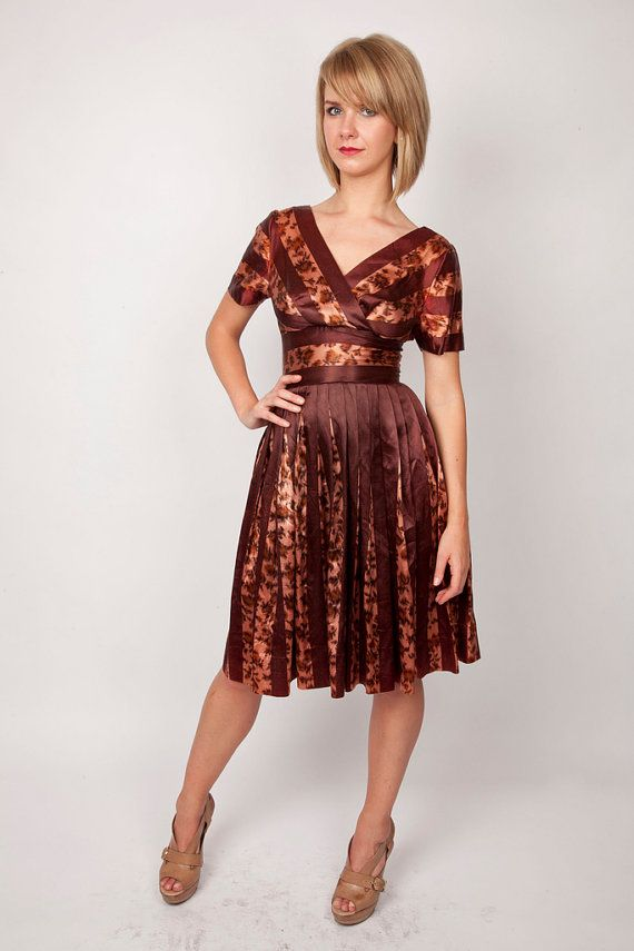 Vintage 1940s Rare Animal Print Cocktail Dress in Warm Autumn Coffee Brown and Hushed Tearose Pink with Leopard Print and Pleats