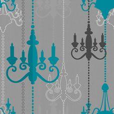Wilko Chandelier Wallpaper Teal/Grey WP332112
