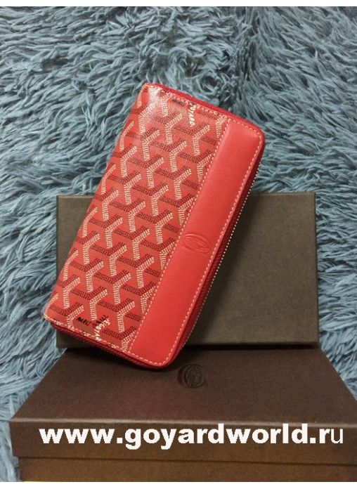Goyard Matignon Zip Around Long Wallet Red