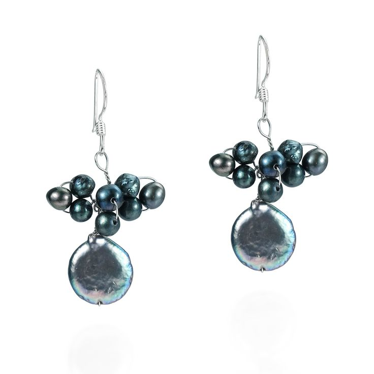 These .925 sterling silver earrings showcase a black pearl cluster. This jewelry was handmade in Thailand by artisan Valaiporn (Lai).
