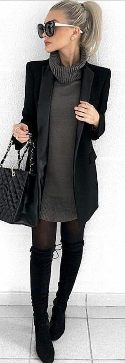 mztaylor88 / Black Knee High Boots, Black Stockings, Gun Metal Jersey Dress, a L... 17