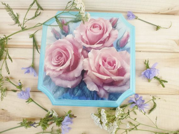Wall Panels Wooden Panels decorative panel handmade wooden panels wall hanging picture on the wall pink roses
