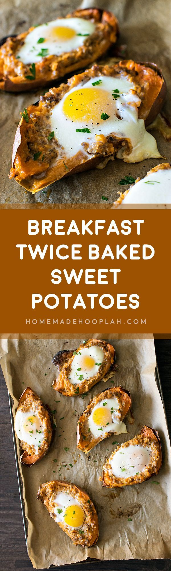 Breakfast Twice Baked Sweet Potatoes! Have the taste of fall all year round! Flavorful breakfast sausage in twice baked sweet potatoes and topped with an over easy egg. | HomemadeHooplah.com