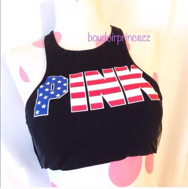 NEW Victoria's Secret PINK Patriotic Bikini Top xs xsmall