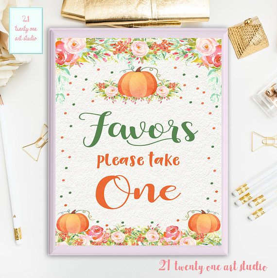 Pumpkin Favors Sign Birthday Please Take One Party Sing Baby