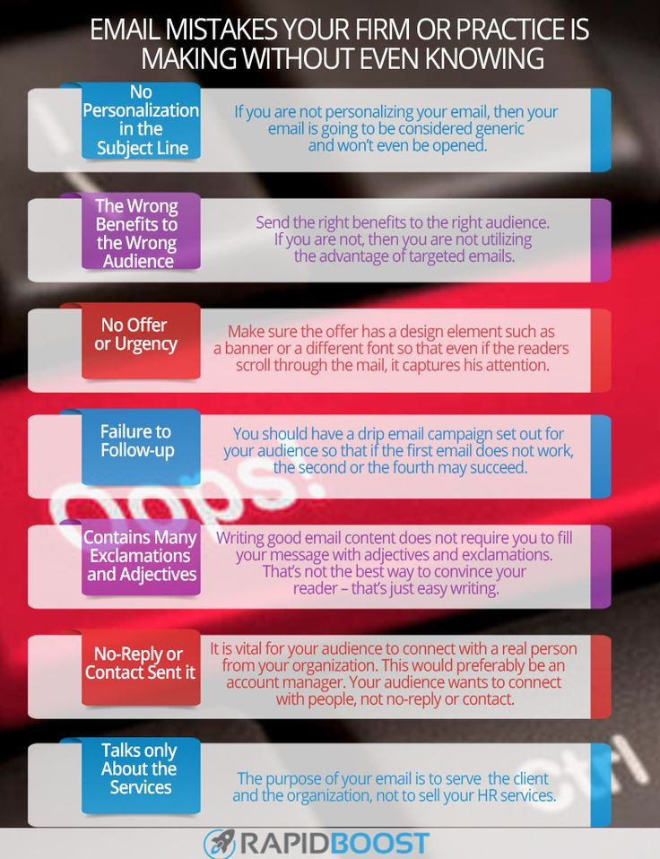 Here are some common email mistakes which your firm or practice is making without even knowing. To know more, visit our website http://rapidboostmarketing.com/
