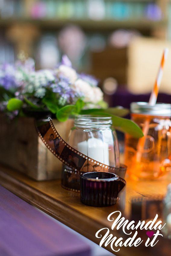 DIY film strip photos for wedding tables