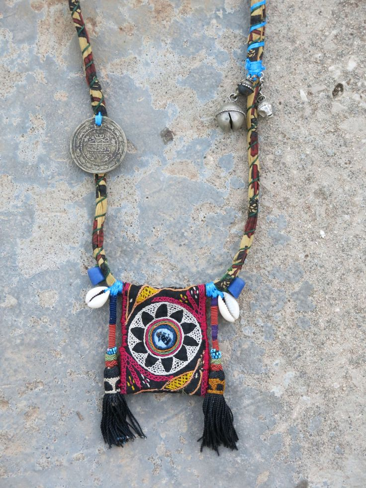 Ethnic necklace with Rabari fabric centerpiece, tassels and Ottoman coin