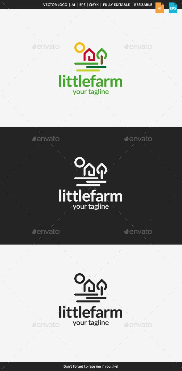 Little Farm Logo (AI Illustrator, Resizable, CS, agriculture, barn, bio, eco, ecology, farm, farm logo, farmer, farming, field, food, garden, grass, green, growing, harvest, little farm, logo, natural, nature, organic, plant, sun)