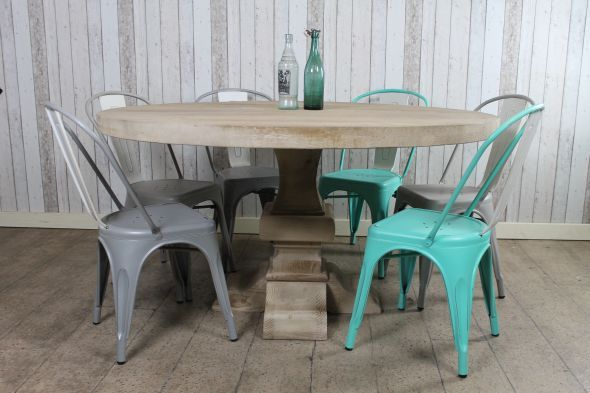 This large round dining table is a great addition to our large range of tables. These tables are made of distressed and bleached pine which gives...
