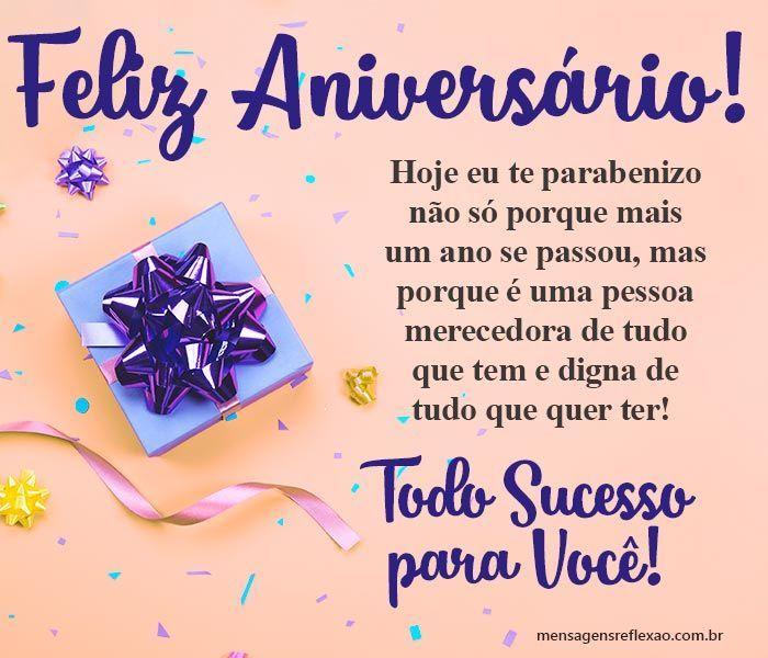 Mensagens de Parabéns e Feliz Aniversário — Mensagens de Reflexão | Feliz  aniversário amiga, Feliz aniversário, Mensagem de feliz aniversário