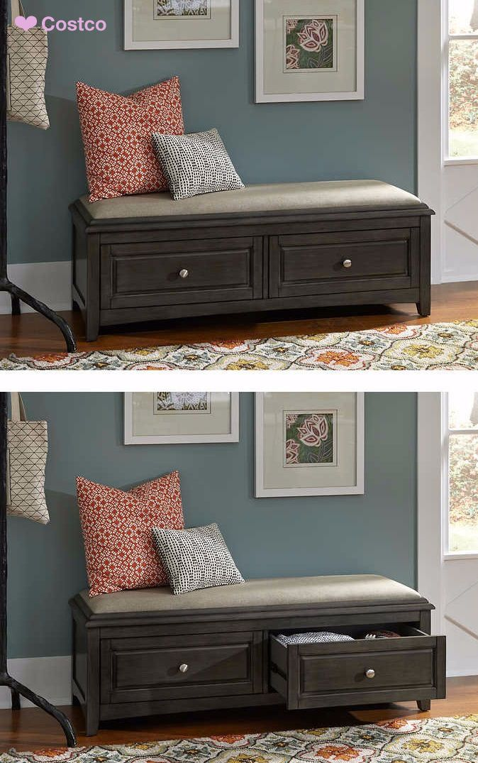 There is no such thing as too much storage, and the Albright Storage Bench with Cushion would agree. This quaint storage bench provides easy-to-access, out-of-sight storage behind two frame drawers. Ideal for an entryway, bedroom or den, the Albright easily stores books, blankets, toys and more.