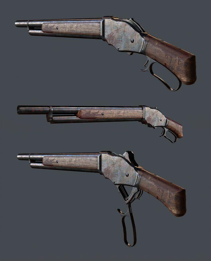 Winchester Model 1887 Lever-Action Shotgun, Travis  Locke on ArtStation at https://www.artstation.com/artwork/winchester-model-1887-lever-action-shotgun
