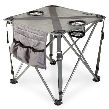 REI - $23.93 This is about finding new spaces and places for your life. Look beyond the door of your apartment to the community. IS there a park, grassy courtyard or area nearby that you can carry a portable chair and table? Camping chairs are easy to find and REI.com has a steel frame fold up camp end table with cup holders for only $23.93. It has a carry bag and adjustable shoulder strap