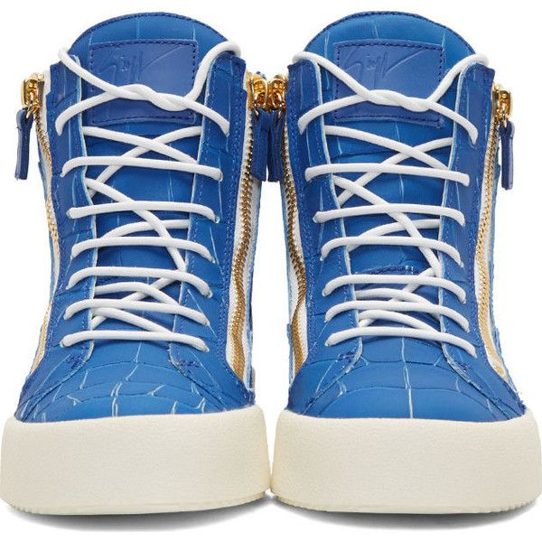 Giuseppe Zanotti Blue Croc-Embossed High-Top London Sombry Sneakers ($795) ❤ liked on Polyvore