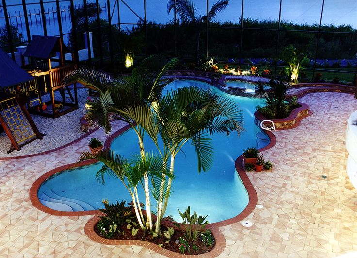 Riverfront pool with playground inside screen enclosure for Pool design consultant