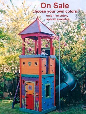 Narrow play structure for a smaller yard...age appropriate for both kids!