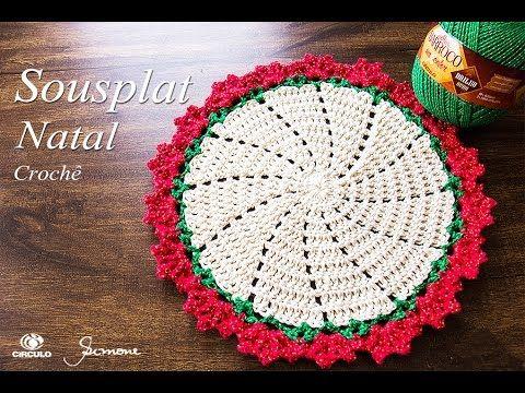 Como Fazer SOUSPLAT EM CROCHÊ | Floral - NATAL 2016 | com Elizabeth Atelier - YouTube