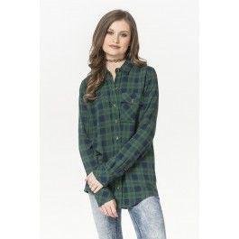 Green & navy plaid button down shirt