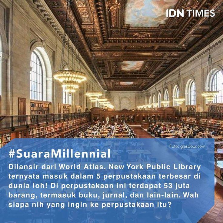 5 Perpustakaan Terbesar di Dunia! Follow @IDNTimes - The Voice of Millennials and Gen Z ----- Bagi para kutu buku, bermain ke perpustakaan merupakan hal yang menyenangkan. Terlebih lagi, mereka menemukan buku yang disukai, mereka akan tetap berada di sana hingga tempat itu tutup. ----- Ini nih 5 perpustakaan terbesar di dunia menurut World Atlas. 1. Russian State Library 2. New York Public Library 3. Library and Archives, Canada 4. Library of the U.S. Congress 5. British Library ------ Kamu…