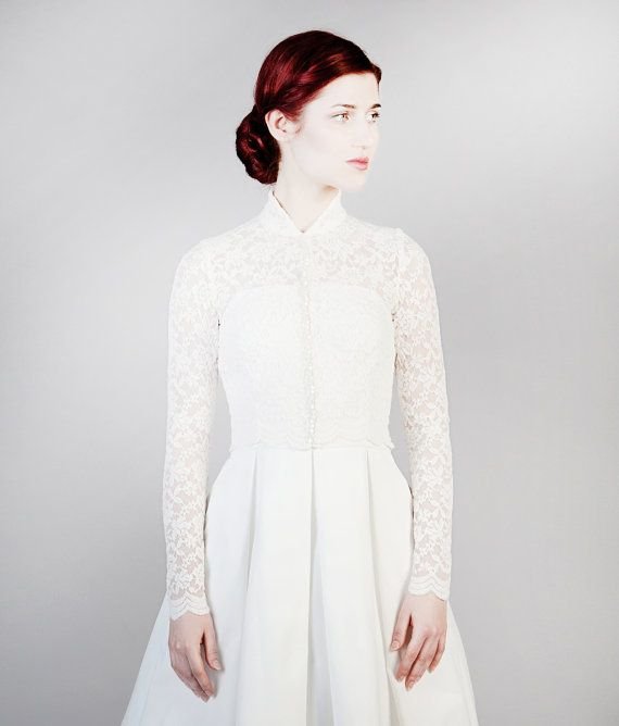 G.R.A.C.E wedding cardigan by Femkit on Etsywhat a brilliant way to fancy up a dress.