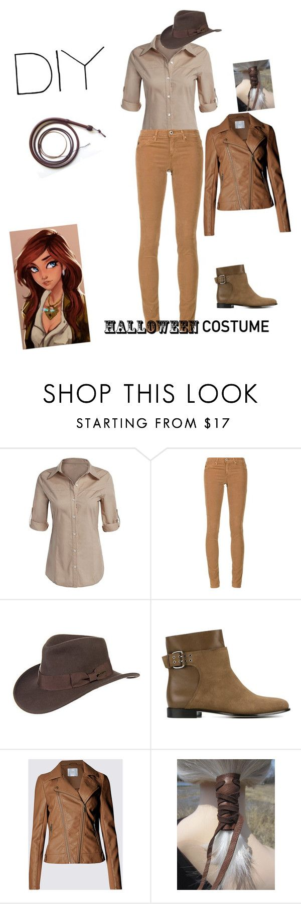 """Diy female version Indiana Jones costume"" by makeuphobbyist ❤ liked on Polyvore featuring AG Adriano Goldschmied, Overland Sheepskin Co., Jimmy Choo, halloweencostume and DIYHalloween"