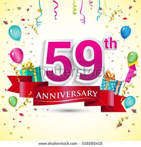 59th Years Anniversary Celebration Design, with gift box and balloons, red ribbon, Colorful Vector template elements for your birthday party.