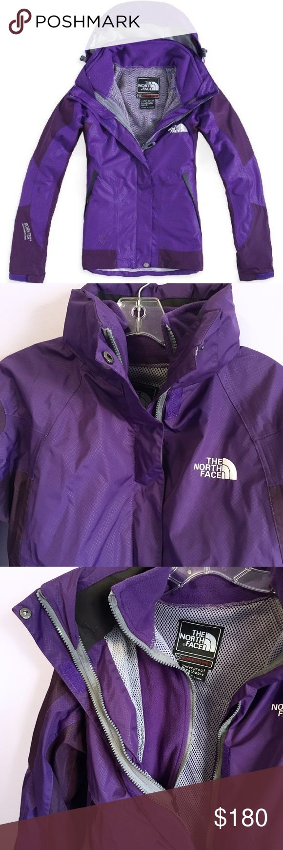 North Face Purple Summit Series GoreTex Coat This beautiful winter coat is actually comprised of two layers that zip together; you get two coats in one! The inner layer is a solid purple fleece jacket. The outer is a thick, waterproof windbreaker with a hood. It's in terrific condition, only worn a few times. True to size, but I wear a size S and the fit is still comfortable on me. North Face Jackets & Coats