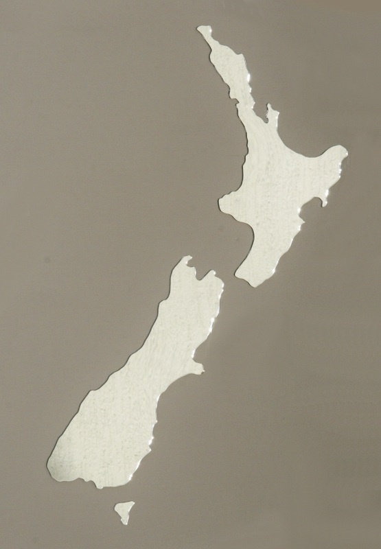 Large New Zealand map acrylic mirror, 57cm long in set up position. Available from our online shop for $24.95 + postage. Cut from a high quality lightweight 3mm acrylic - Can be hung with Blu-tack. Picture this in your lounge ;)
