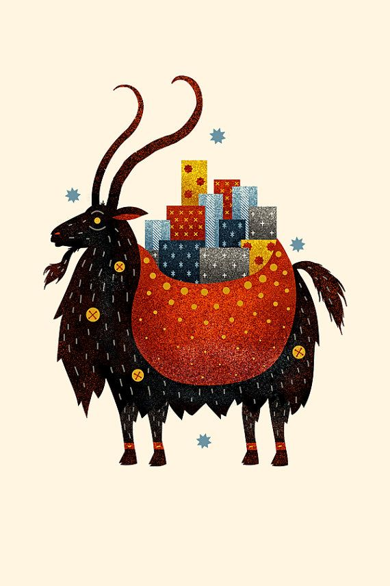 (Yule Goat by Scott Benson) A Scandinavian tradition that predates the arrival of Christianity in Northern Europe. The goat was a symbol of the Norse god Thor, because they pulled his flying chariot. The Yule Goat was once considered to be a bringer of gifts, but now Father Christmas brings the presents and sometimes rides the Yule Goat.
