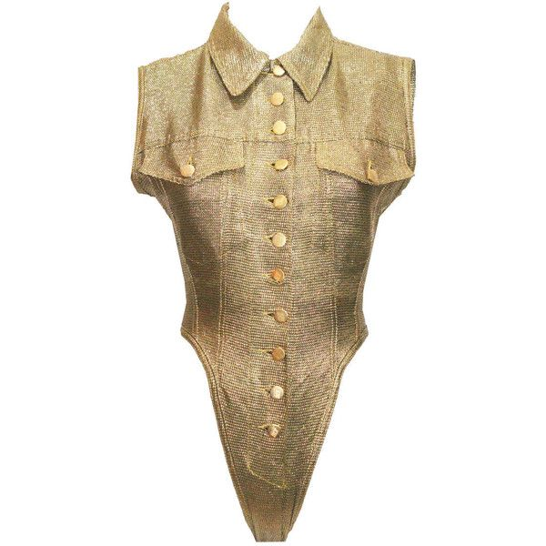 Pre-owned 1980s Jean Paul Gaultier Gold Leotard ($776) ❤ liked on Polyvore featuring leotards, lingerie and jean-paul gaultier