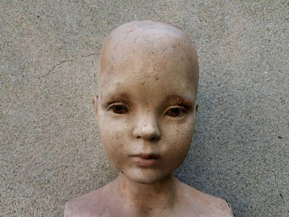 Vintage Full Size Wood and Plaster Composite Child Mannequin