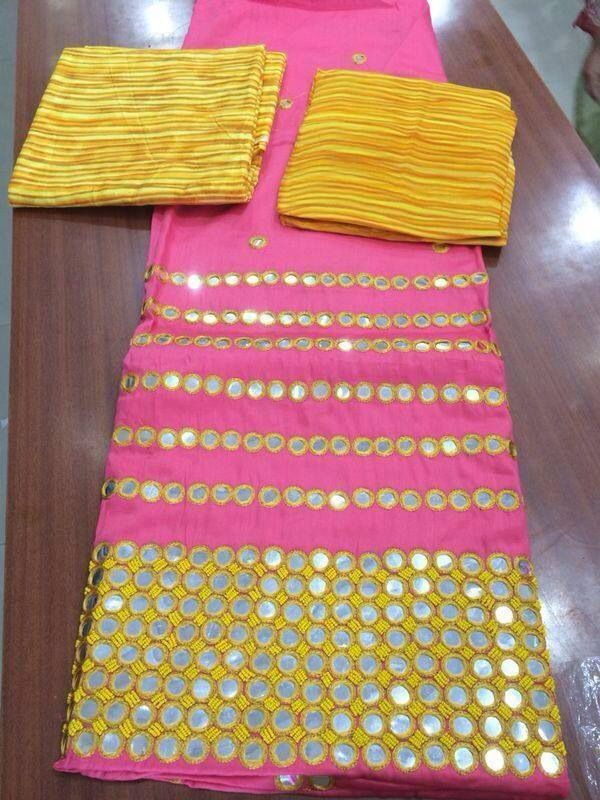 Pink yellow with mirror work @SRandhawa