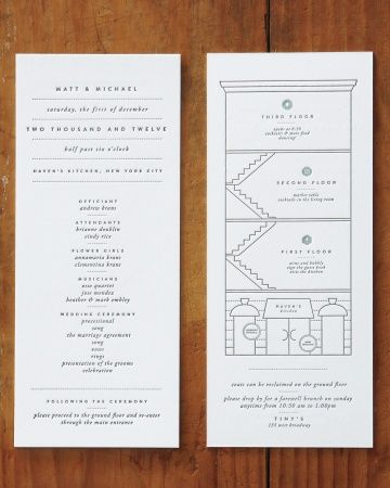 115 best wedding invitations images on pinterest cards ideas stylish stationery the letterpressed suite included this program which featured a schematic of the wedding venue havens kitchen stopboris Choice Image