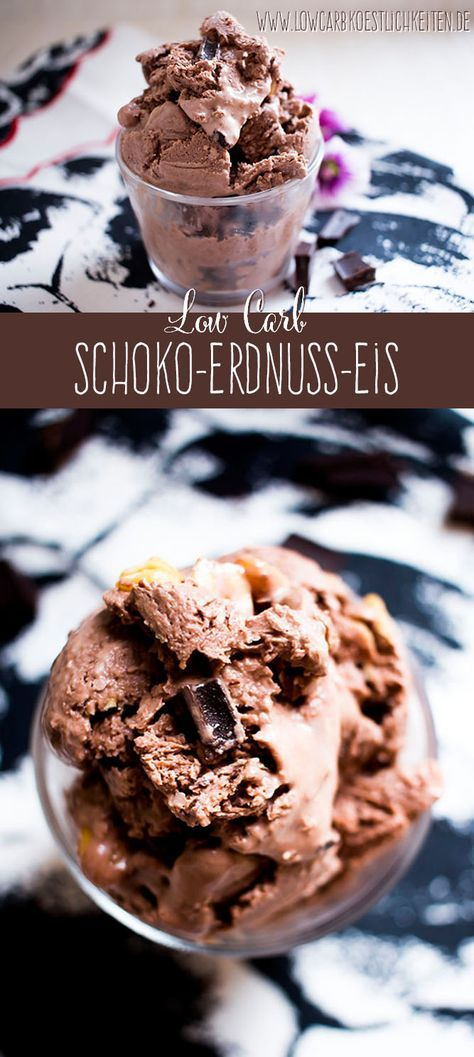 Die perfekte Abkühlung - Low Carb Schoko-Erdnuss-Eis www.lowcarbkoestlichkeiten.de #lowcarb #dessert #abnehmen #sugarfree #glutenfree