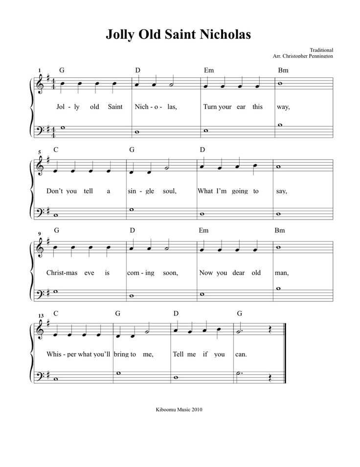 Like, share, repin :D Enjoy CHRISTMAS SHEET MUSIC: Jolly Old Saint Nicholas Sheet Music and Song for Kids!