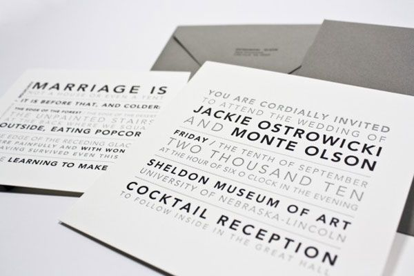 copying these wedding invitations. and grey and white - our colors. perfecto.