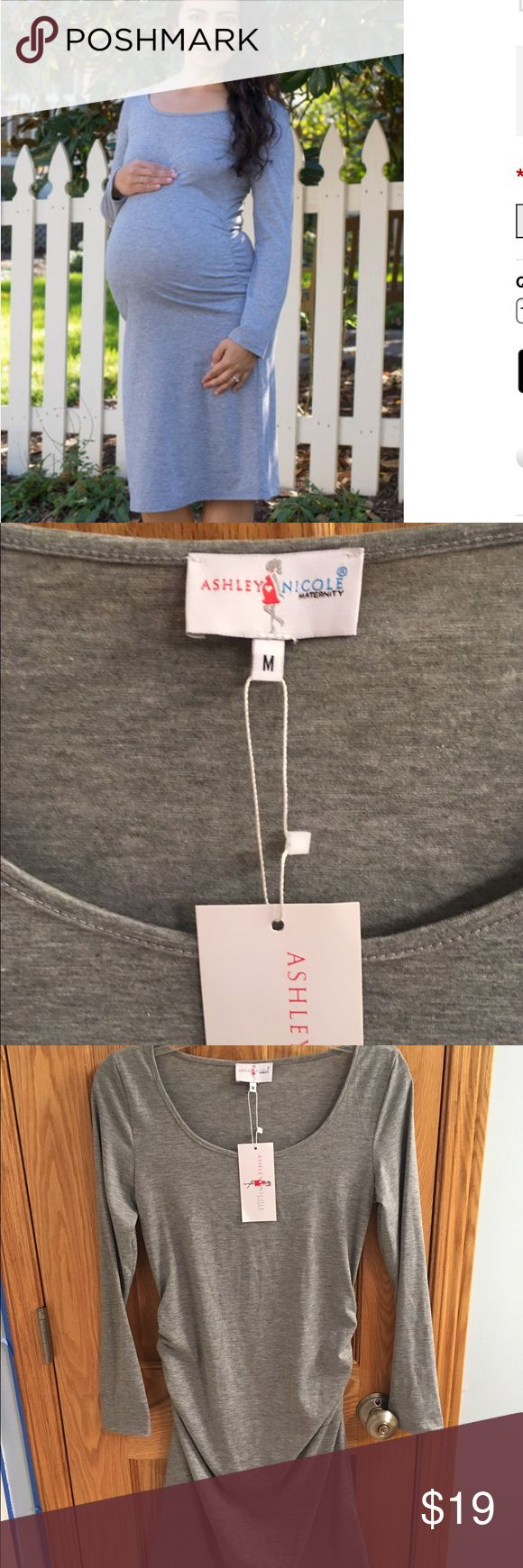 NWT Ashley Nicole Maternity long grey dress Never been worn heather grey maternity dress in a size medium. Ashley Nicole Maternity Dresses Long Sleeve