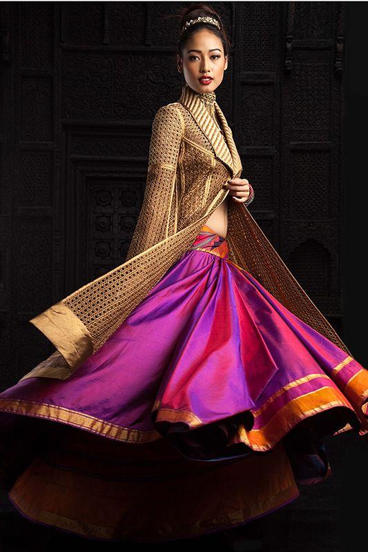 Bridal set by Tarun Tahiliani. The iridescent reddish-purple fabric looks so rich