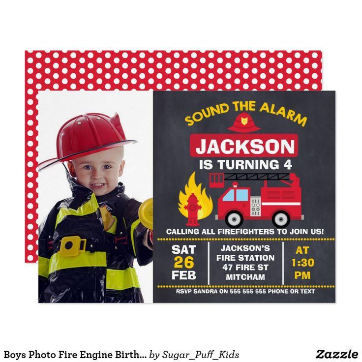 Boys Photo Fire Engine Birthday Invitation