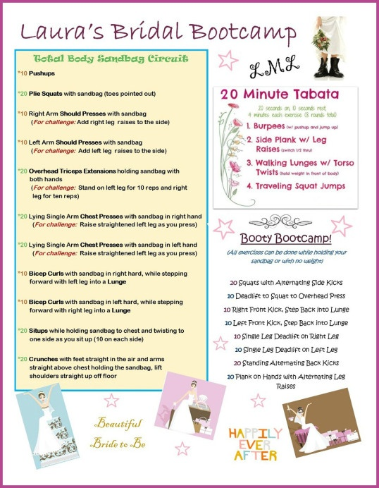 Customized Bridal Bootcamp - have them made for your bridal party and get fit together! Email sarahfitab@gmail.com