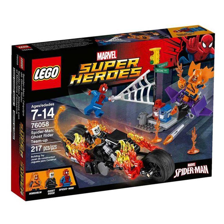 Conheça o espetacular Lego Super Heroes - Homem Aranha - Motoqueiro Fantasma Reúne Forças,  um conjunto incrível que vai conquistar a garotada. Faça parte de uma grande batalha com o Homem Aranha e o Motoqueiro Fantasma para defender a cidade do vilão HobGoblin O vilão está aterrorizando as ruas com seu planador e suas bombas de abóbora, mas o Homem Aranha irá detê-lo São inúmeros detalhes que vão permitir as crianças soltarem a imaginação e criarem muitas brincadeiras animadas. Lego Super…
