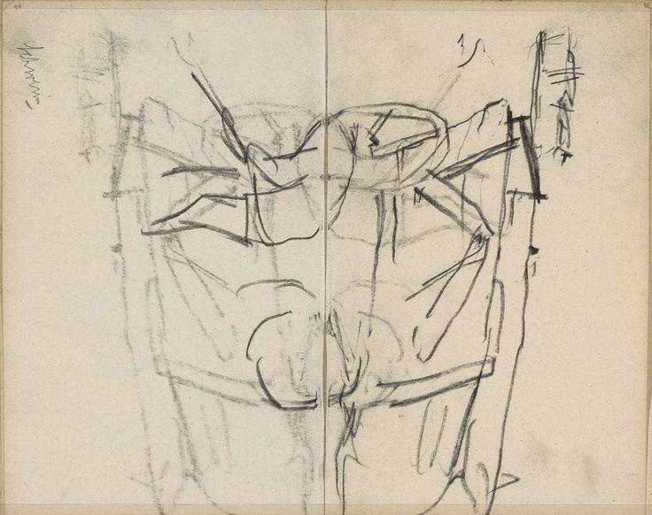 George Hendrik Breitner | Kar en een werkende man, George Hendrik Breitner, c. 1892 - 1923 | Kar. Vooraan een werkende man. Pagina 46 en pagina 47 uit een schetsboek met 45 bladen vervaardigd te Schwerin en Amsterdam.