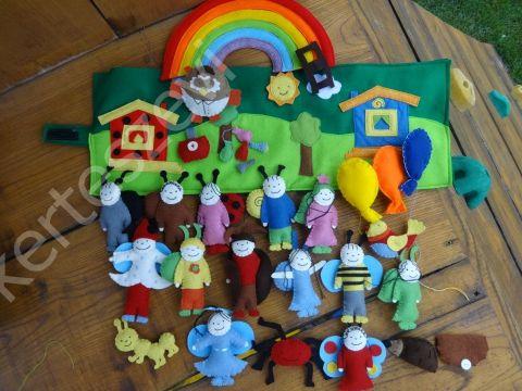 Filc interaktív Bogyó és Babóca játszópad, Játék, Báb, Készségfejlesztő játék, Plüssállat, rongyjáték, Meska