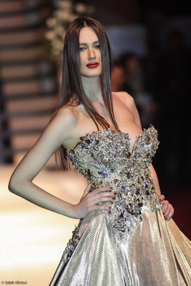 Caftanos 2013  Fashion Show in Tangiers on Feb 9, 2013. Model Amina Allam, dress Tony Yaacoub.