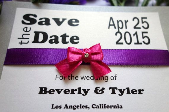 Handmade Silver Modern Save the Date Invitation with Swarovski Crystal on linen textured or shimmer cardstock -  USD1.90