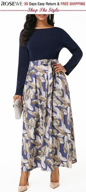 12697975207 Long Sleeve Boat Neck High Waist Belted Dress. rosewe dress