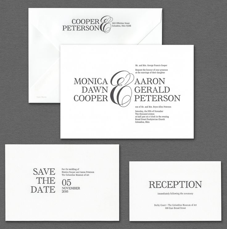 Vera Wang Fluorescent White Invitation Suite With Black Lettering.Available  At Honey Paper.