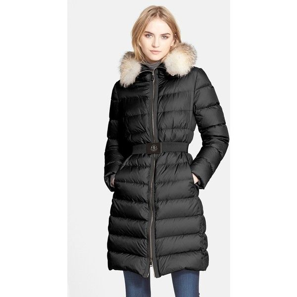 Moncler 'Fabrefox' Belted Puffer Coat with Genuine Fox Fur Ruff ($1,955) ❤ liked on Polyvore featuring outerwear, coats, black, long puffy coat, long puffer coat, fox fur trim coat, belted puffer coat and puffer coat