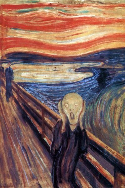 This art piece reminds me of a Panic attack.it reminds me of this be cause of the fear and the world burning sky. the name is the screamers and it's made by Edvard munch.